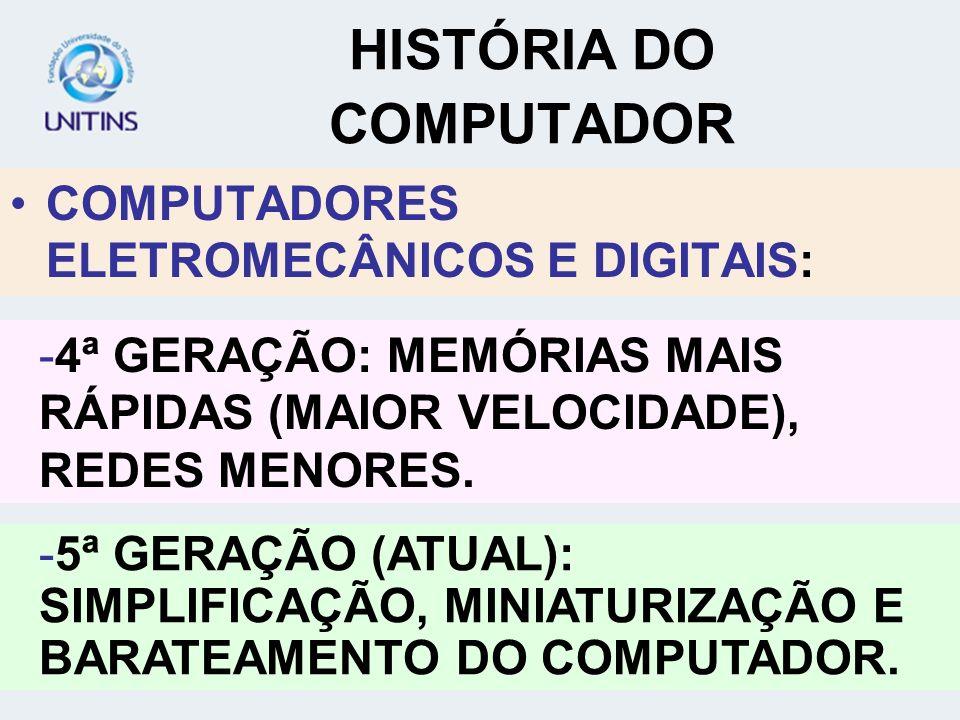 COMPUTADORES ELETROMECÂNICOS E DIGITAIS: HISTÓRIA DO COMPUTADOR -5ª GERAÇÃO (ATUAL): SIMPLIFICAÇÃO, MINIATURIZAÇÃO E BARATEAMENTO DO COMPUTADOR. -4ª G
