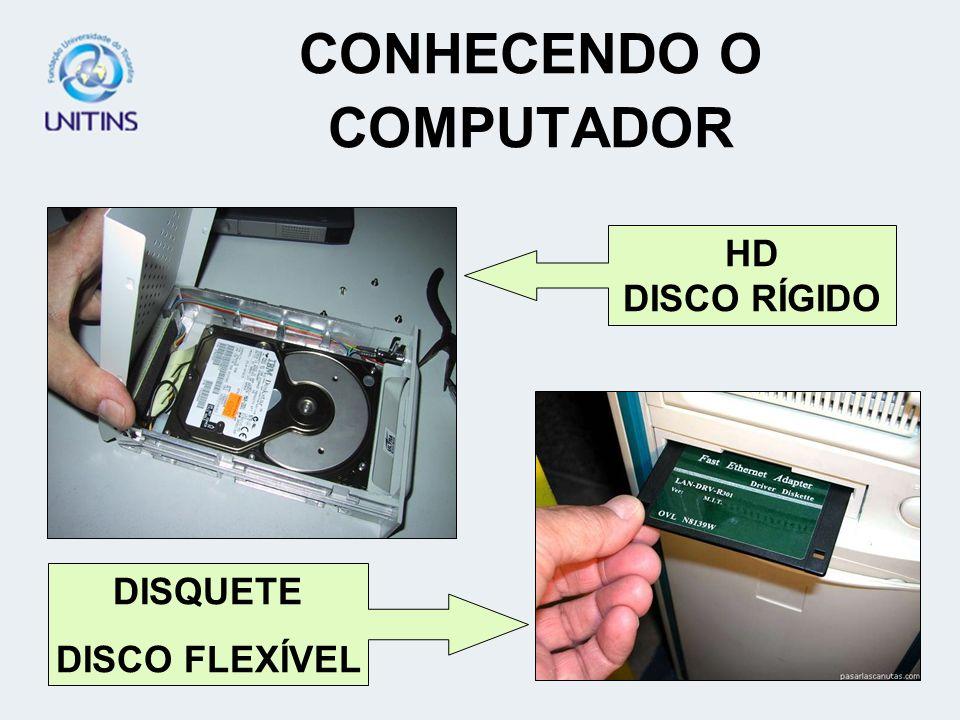 CONHECENDO O COMPUTADOR HD DISCO RÍGIDO DISQUETE DISCO FLEXÍVEL