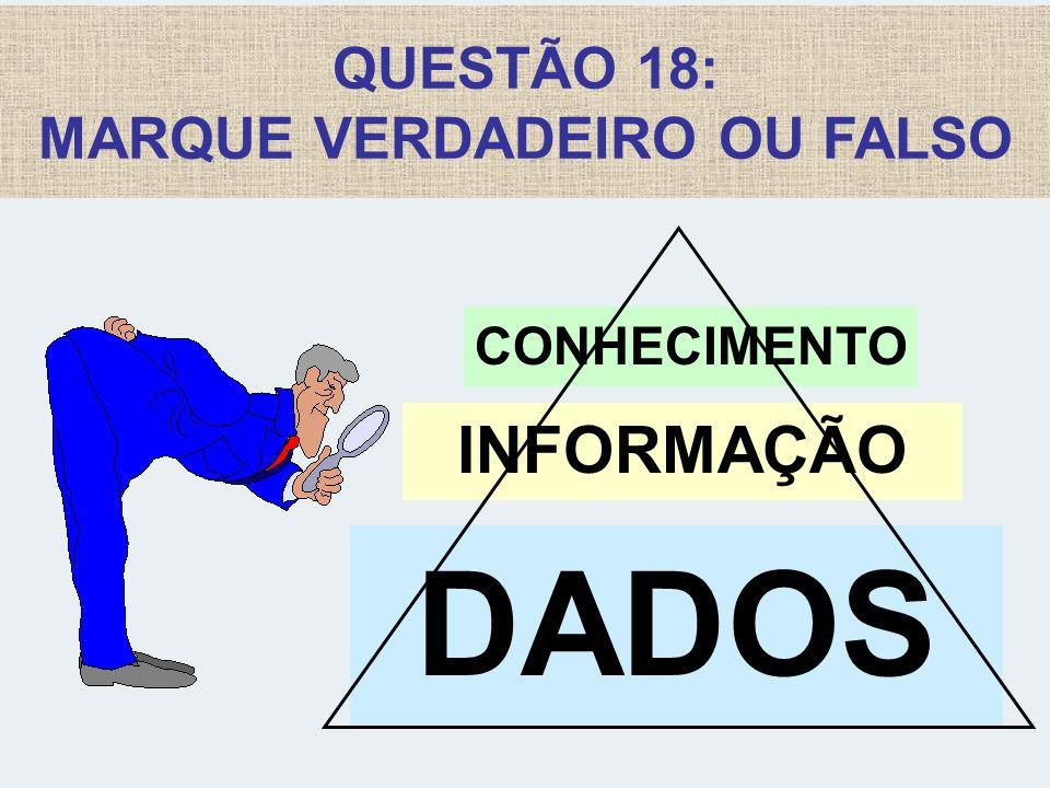 QUESTÃO 18: MARQUE VERDADEIRO OU FALSO DADOS INFORMAÇÃO CONHECIMENTO