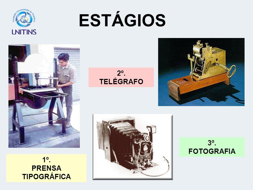 ESTÁGIOS 2º. TELÉGRAFO 3º. FOTOGRAFIA 1º. PRENSA TIPOGRÁFICA