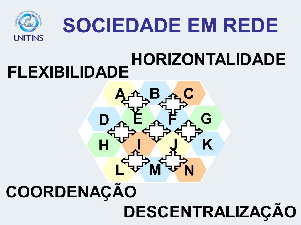 SOCIEDADE EM REDE A E H D L C G B F I J K M N FLEXIBILIDADE COORDENAÇÃO DESCENTRALIZAÇÃO HORIZONTALIDADE
