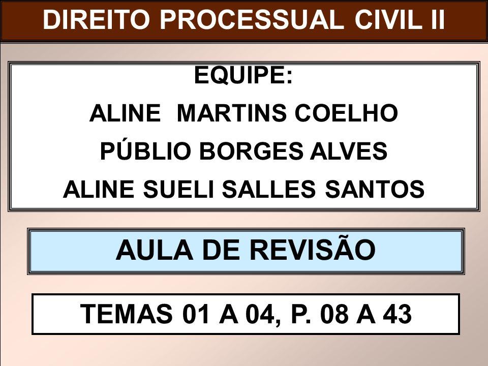 DIREITO PROCESSUAL CIVIL I EQUIPE: ALINE MARTINS COELHO PÚBLIO BORGES ALVES ALINE SUELI SALLES SANTOS AULA DE REVISÃO TEMAS 01 A 04, P. 08 A 43 DIREIT