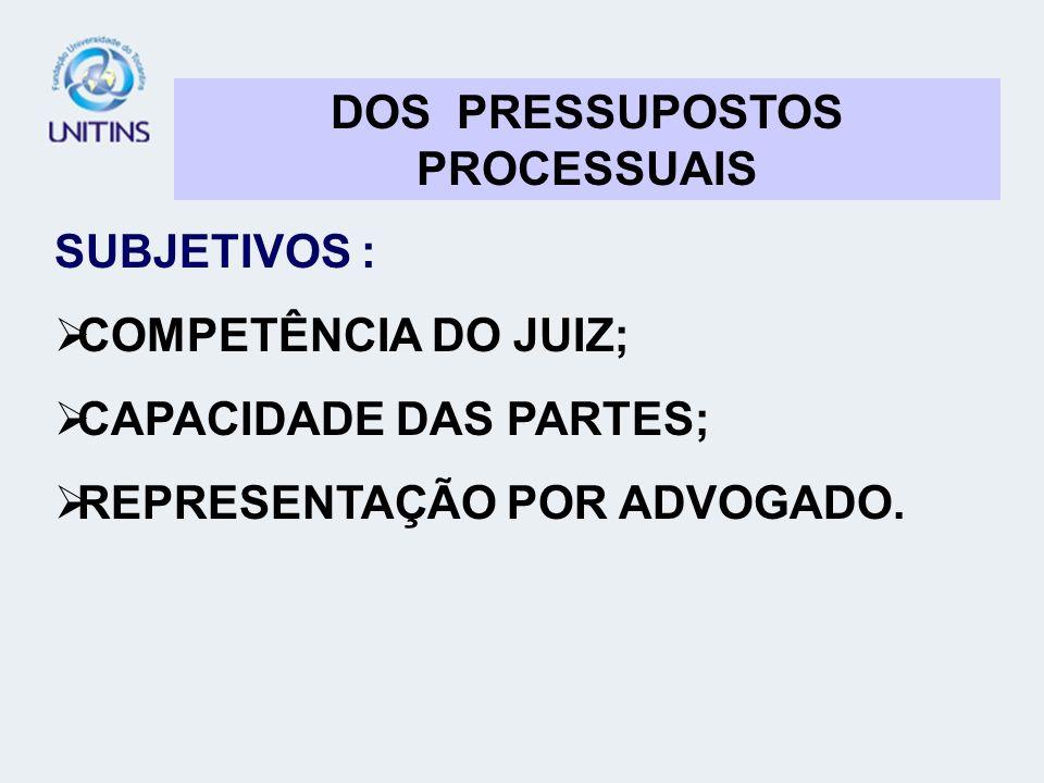 DOS PRESSUPOSTOS PROCESSUAIS SUBJETIVOS : COMPETÊNCIA DO JUIZ; CAPACIDADE DAS PARTES; REPRESENTAÇÃO POR ADVOGADO.