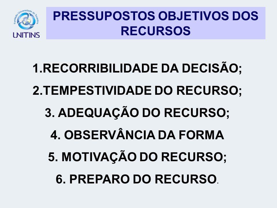 PRESSUPOSTOS OBJETIVOS DOS RECURSOS 1.RECORRIBILIDADE DA DECISÃO; 2.TEMPESTIVIDADE DO RECURSO; 3. ADEQUAÇÃO DO RECURSO; 4. OBSERVÂNCIA DA FORMA 5. MOT