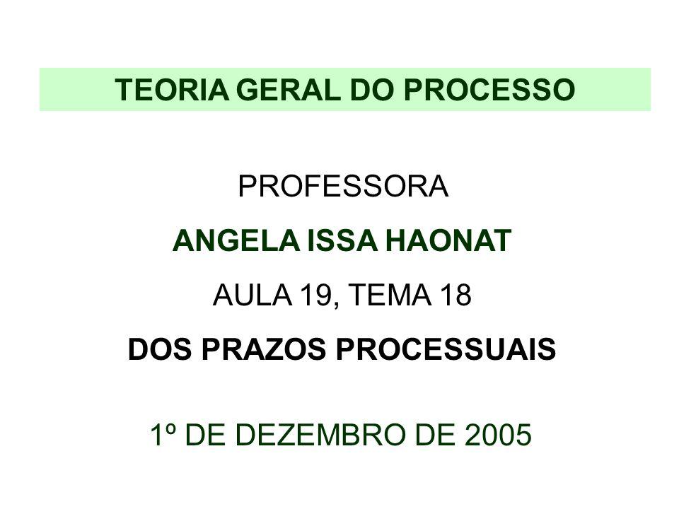 TEORIA GERAL DO PROCESSO PROFESSORA ANGELA ISSA HAONAT AULA 19, TEMA 18 DOS PRAZOS PROCESSUAIS 1º DE DEZEMBRO DE 2005