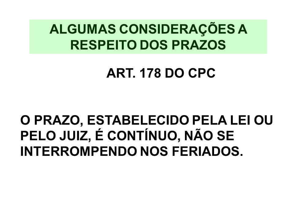 ALGUMAS CONSIDERAÇÕES A RESPEITO DOS PRAZOS ART. 178 DO CPC O PRAZO, ESTABELECIDO PELA LEI OU PELO JUIZ, É CONTÍNUO, NÃO SE INTERROMPENDO NOS FERIADOS