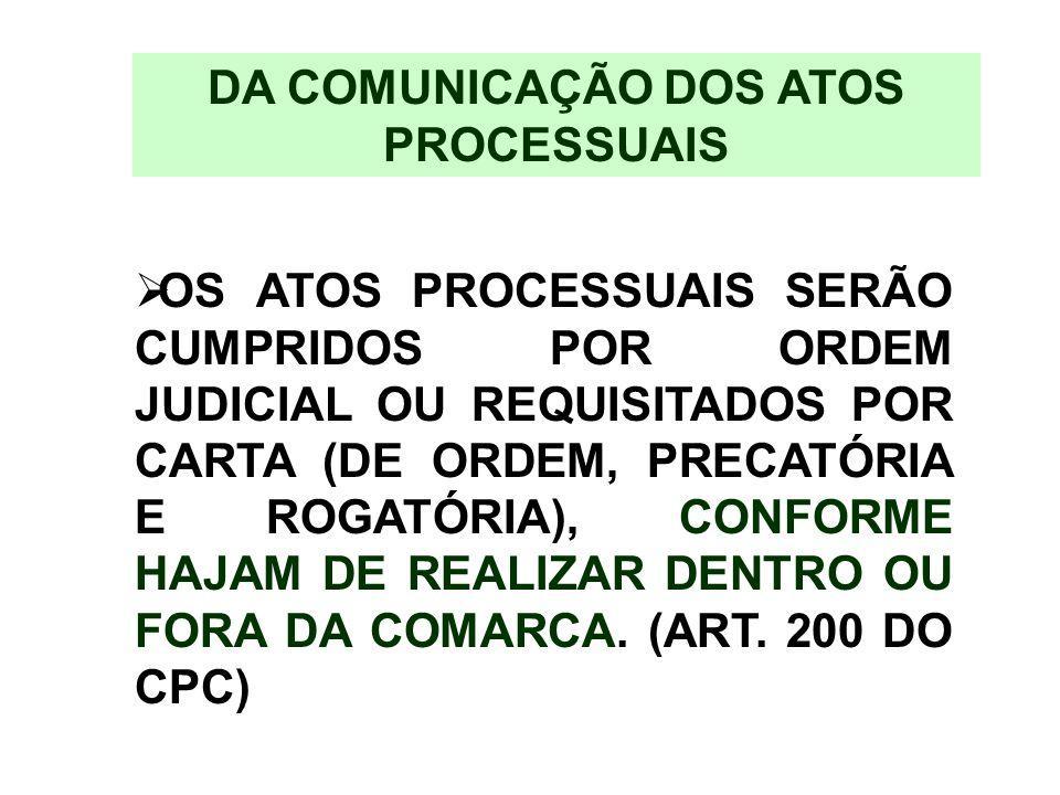 DA COMUNICAÇÃO DOS ATOS PROCESSUAIS OS ATOS PROCESSUAIS SERÃO CUMPRIDOS POR ORDEM JUDICIAL OU REQUISITADOS POR CARTA (DE ORDEM, PRECATÓRIA E ROGATÓRIA