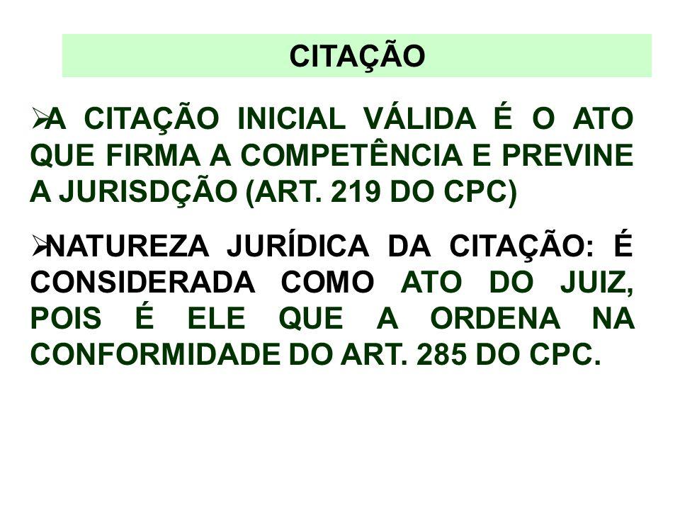 CITAÇÃO A CITAÇÃO INICIAL VÁLIDA É O ATO QUE FIRMA A COMPETÊNCIA E PREVINE A JURISDÇÃO (ART. 219 DO CPC) NATUREZA JURÍDICA DA CITAÇÃO: É CONSIDERADA C