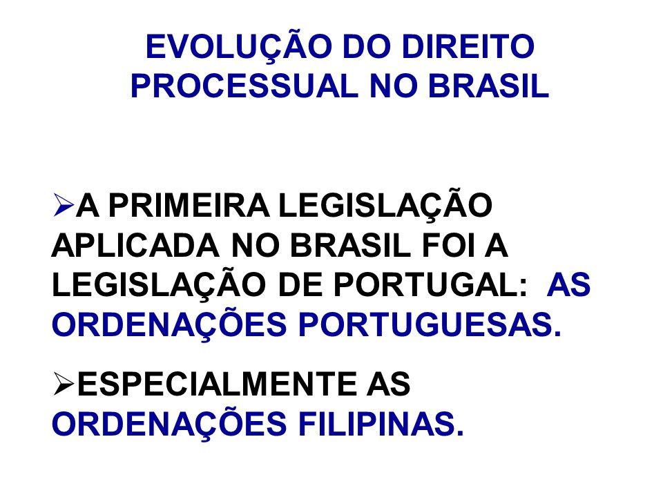 EVOLUÇÃO DO DIREITO PROCESSUAL NO BRASIL A PRIMEIRA LEGISLAÇÃO APLICADA NO BRASIL FOI A LEGISLAÇÃO DE PORTUGAL: AS ORDENAÇÕES PORTUGUESAS. ESPECIALMEN
