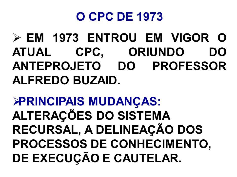 O CPC DE 1973 EM 1973 ENTROU EM VIGOR O ATUAL CPC, ORIUNDO DO ANTEPROJETO DO PROFESSOR ALFREDO BUZAID. PRINCIPAIS MUDANÇAS: ALTERAÇÕES DO SISTEMA RECU