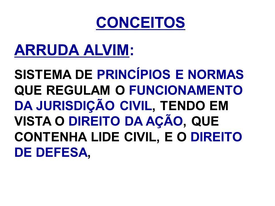 CONCEITOS ARRUDA ALVIM: SISTEMA DE PRINCÍPIOS E NORMAS QUE REGULAM O FUNCIONAMENTO DA JURISDIÇÃO CIVIL, TENDO EM VISTA O DIREITO DA AÇÃO, QUE CONTENHA