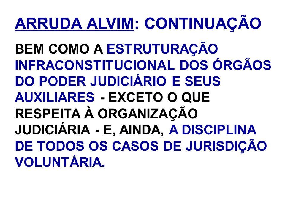 ARRUDA ALVIM: CONTINUAÇÃO BEM COMO A ESTRUTURAÇÃO INFRACONSTITUCIONAL DOS ÓRGÃOS DO PODER JUDICIÁRIO E SEUS AUXILIARES - EXCETO O QUE RESPEITA À ORGAN