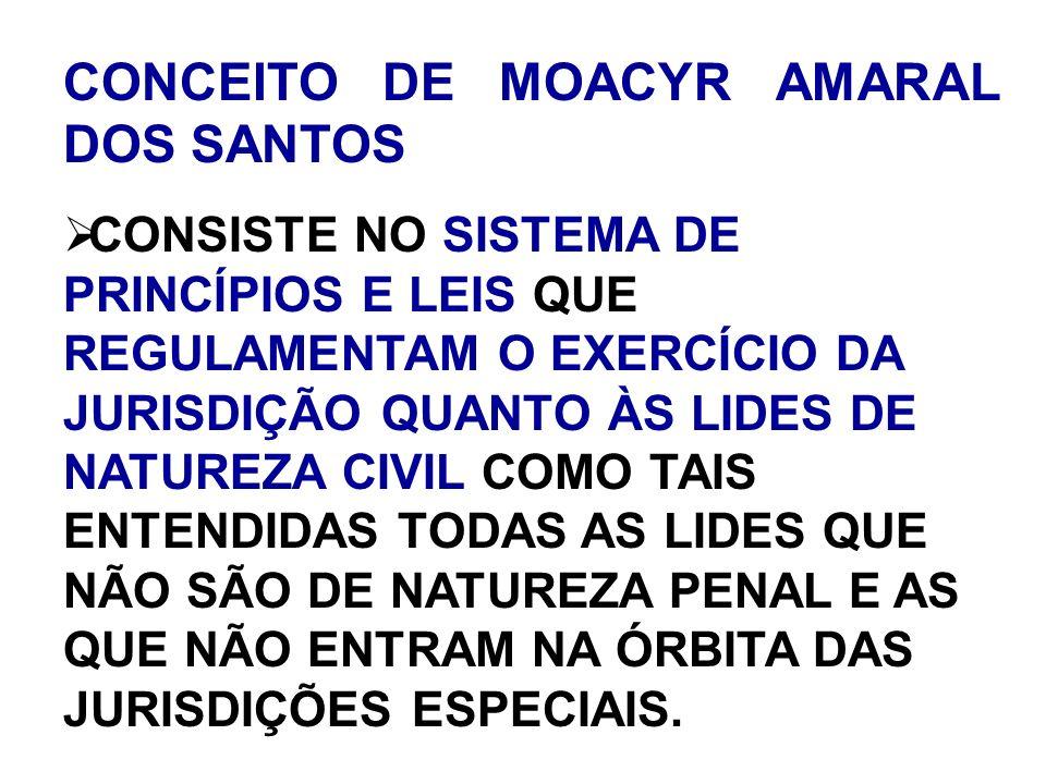 CONCEITO DE MOACYR AMARAL DOS SANTOS CONSISTE NO SISTEMA DE PRINCÍPIOS E LEIS QUE REGULAMENTAM O EXERCÍCIO DA JURISDIÇÃO QUANTO ÀS LIDES DE NATUREZA C