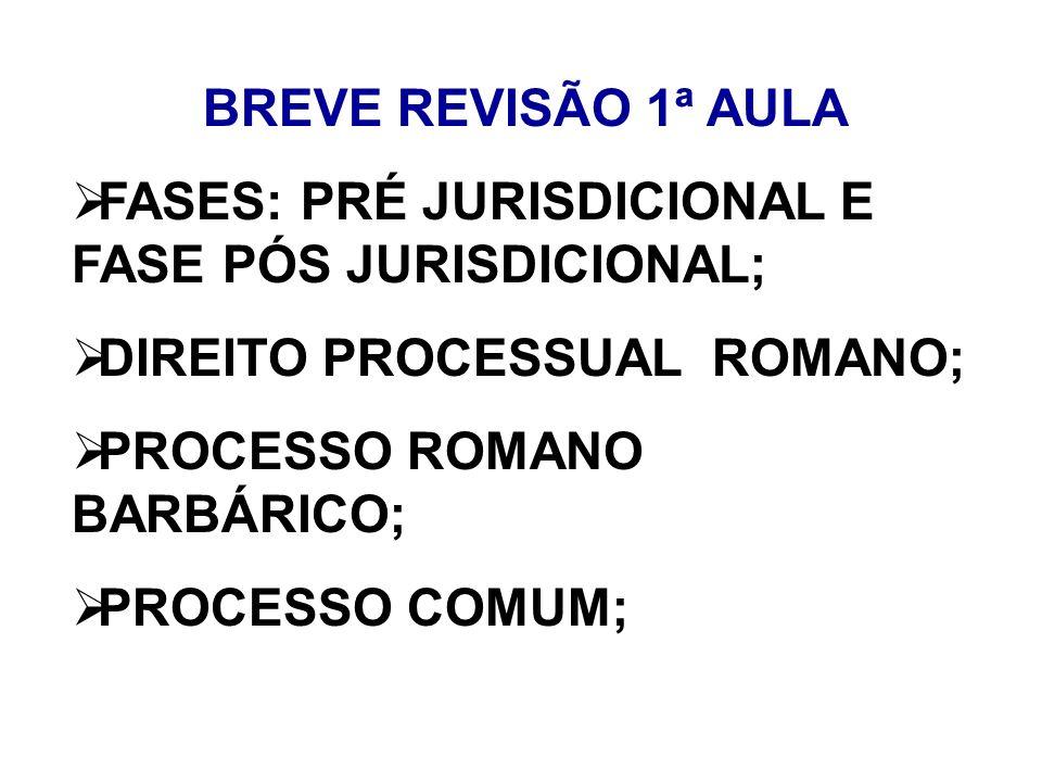 BREVE REVISÃO 1ª AULA FASES: PRÉ JURISDICIONAL E FASE PÓS JURISDICIONAL; DIREITO PROCESSUAL ROMANO; PROCESSO ROMANO BARBÁRICO; PROCESSO COMUM;