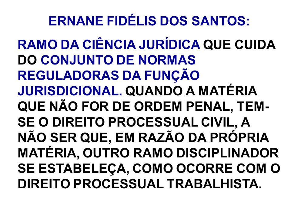 ERNANE FIDÉLIS DOS SANTOS: RAMO DA CIÊNCIA JURÍDICA QUE CUIDA DO CONJUNTO DE NORMAS REGULADORAS DA FUNÇÃO JURISDICIONAL. QUANDO A MATÉRIA QUE NÃO FOR