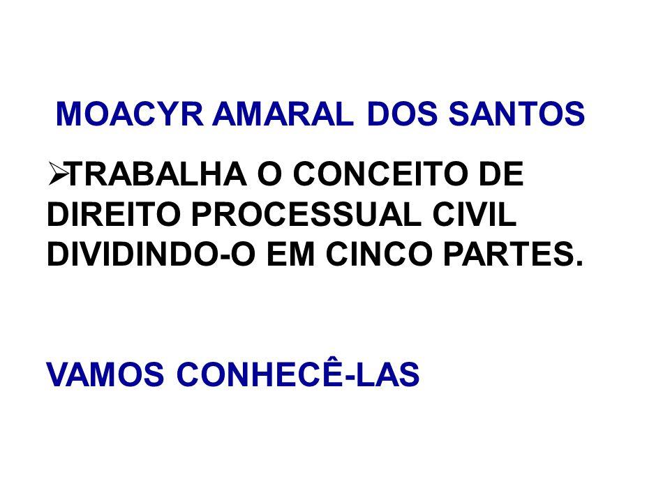 MOACYR AMARAL DOS SANTOS TRABALHA O CONCEITO DE DIREITO PROCESSUAL CIVIL DIVIDINDO-O EM CINCO PARTES. VAMOS CONHECÊ-LAS