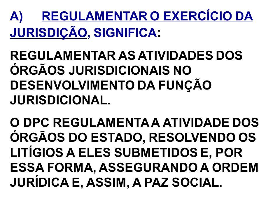 A) REGULAMENTAR O EXERCÍCIO DA JURISDIÇÃO, SIGNIFICA : REGULAMENTAR AS ATIVIDADES DOS ÓRGÃOS JURISDICIONAIS NO DESENVOLVIMENTO DA FUNÇÃO JURISDICIONAL