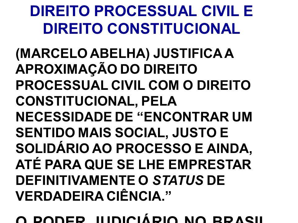 DIREITO PROCESSUAL CIVIL E DIREITO CONSTITUCIONAL (MARCELO ABELHA) JUSTIFICA A APROXIMAÇÃO DO DIREITO PROCESSUAL CIVIL COM O DIREITO CONSTITUCIONAL, P