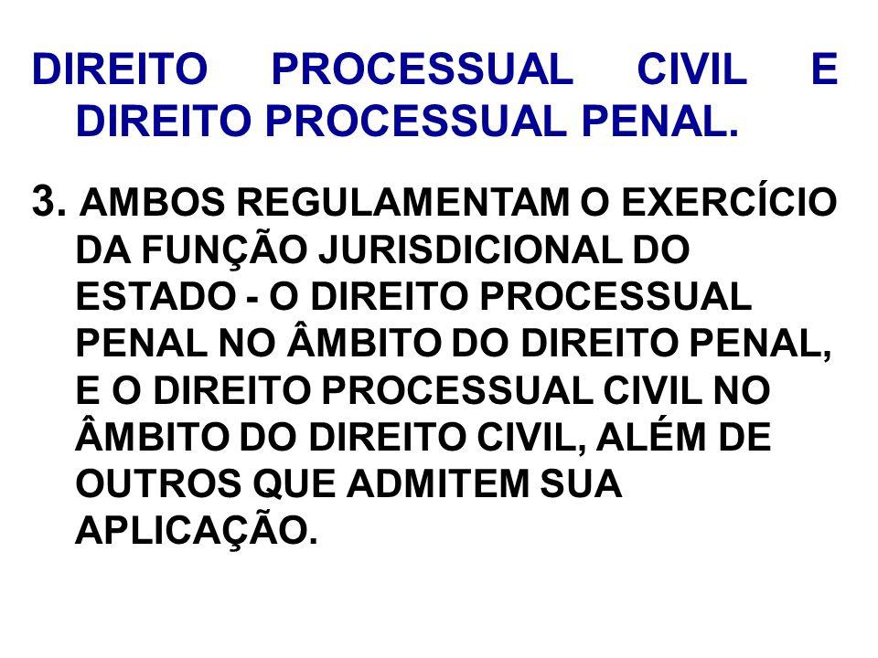 DIREITO PROCESSUAL CIVIL E DIREITO PROCESSUAL PENAL. 3. AMBOS REGULAMENTAM O EXERCÍCIO DA FUNÇÃO JURISDICIONAL DO ESTADO - O DIREITO PROCESSUAL PENAL