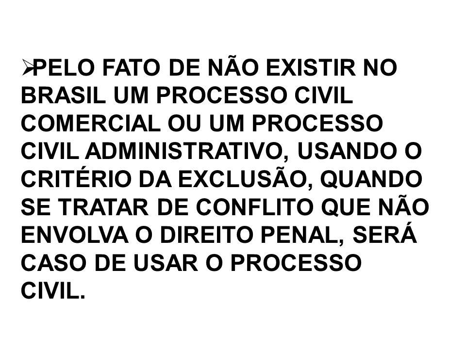 PELO FATO DE NÃO EXISTIR NO BRASIL UM PROCESSO CIVIL COMERCIAL OU UM PROCESSO CIVIL ADMINISTRATIVO, USANDO O CRITÉRIO DA EXCLUSÃO, QUANDO SE TRATAR DE