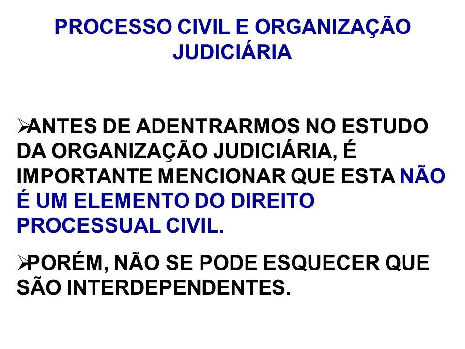PROCESSO CIVIL E ORGANIZAÇÃO JUDICIÁRIA ANTES DE ADENTRARMOS NO ESTUDO DA ORGANIZAÇÃO JUDICIÁRIA, É IMPORTANTE MENCIONAR QUE ESTA NÃO É UM ELEMENTO DO