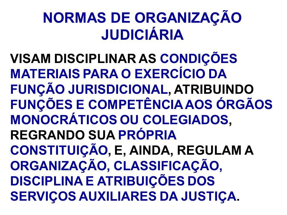 NORMAS DE ORGANIZAÇÃO JUDICIÁRIA VISAM DISCIPLINAR AS CONDIÇÕES MATERIAIS PARA O EXERCÍCIO DA FUNÇÃO JURISDICIONAL, ATRIBUINDO FUNÇÕES E COMPETÊNCIA A