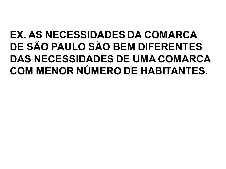 EX. AS NECESSIDADES DA COMARCA DE SÃO PAULO SÃO BEM DIFERENTES DAS NECESSIDADES DE UMA COMARCA COM MENOR NÚMERO DE HABITANTES.