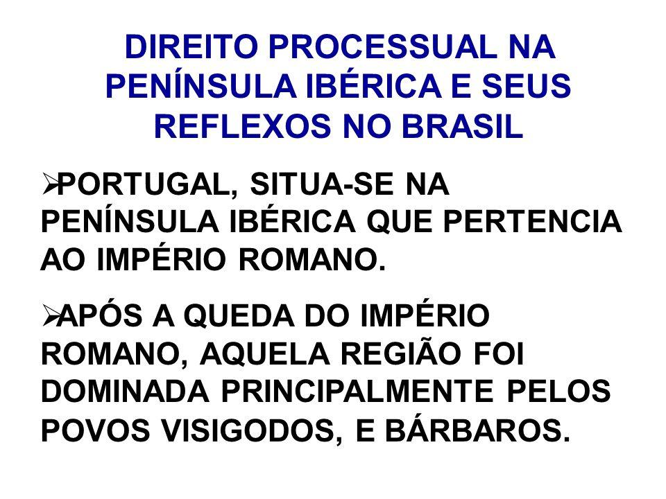 DIREITO PROCESSUAL NA PENÍNSULA IBÉRICA E SEUS REFLEXOS NO BRASIL PORTUGAL, SITUA-SE NA PENÍNSULA IBÉRICA QUE PERTENCIA AO IMPÉRIO ROMANO. APÓS A QUED