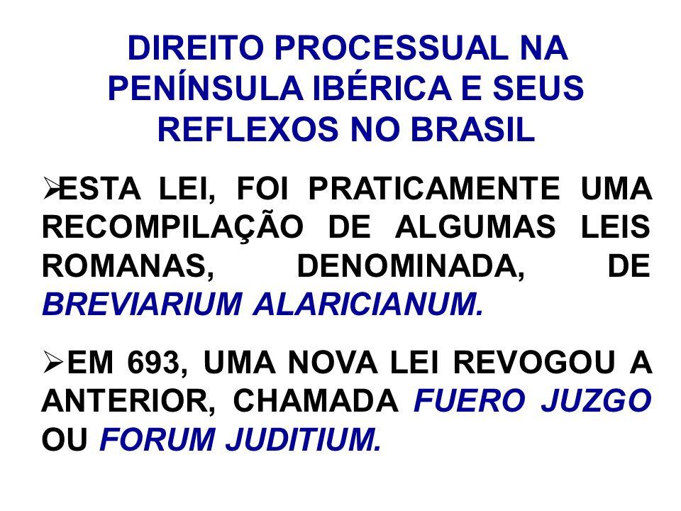 DIREITO PROCESSUAL NA PENÍNSULA IBÉRICA E SEUS REFLEXOS NO BRASIL ESTA LEI, FOI PRATICAMENTE UMA RECOMPILAÇÃO DE ALGUMAS LEIS ROMANAS, DENOMINADA, DE