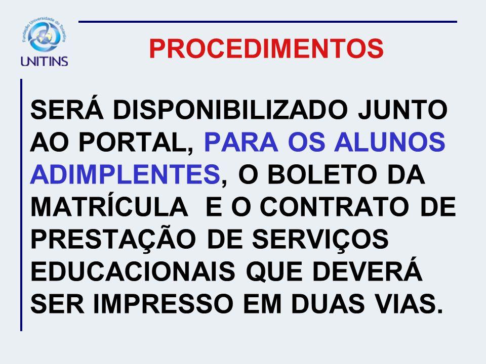 PROCEDIMENTOS OS ALUNOS QUE ESTIVEREM INADIMPLENTES COM A INSTITUIÇÃO, DEVERÃO CONTACTAR O FINANCEIRO, NO PERÍODO DE 03 A 12/01/2007, PELO TELEFONE (63) 3218 2963, PARA NEGOCIAÇÃO E POSTERIOR LIBERAÇÃO DE MATRÍCULA.
