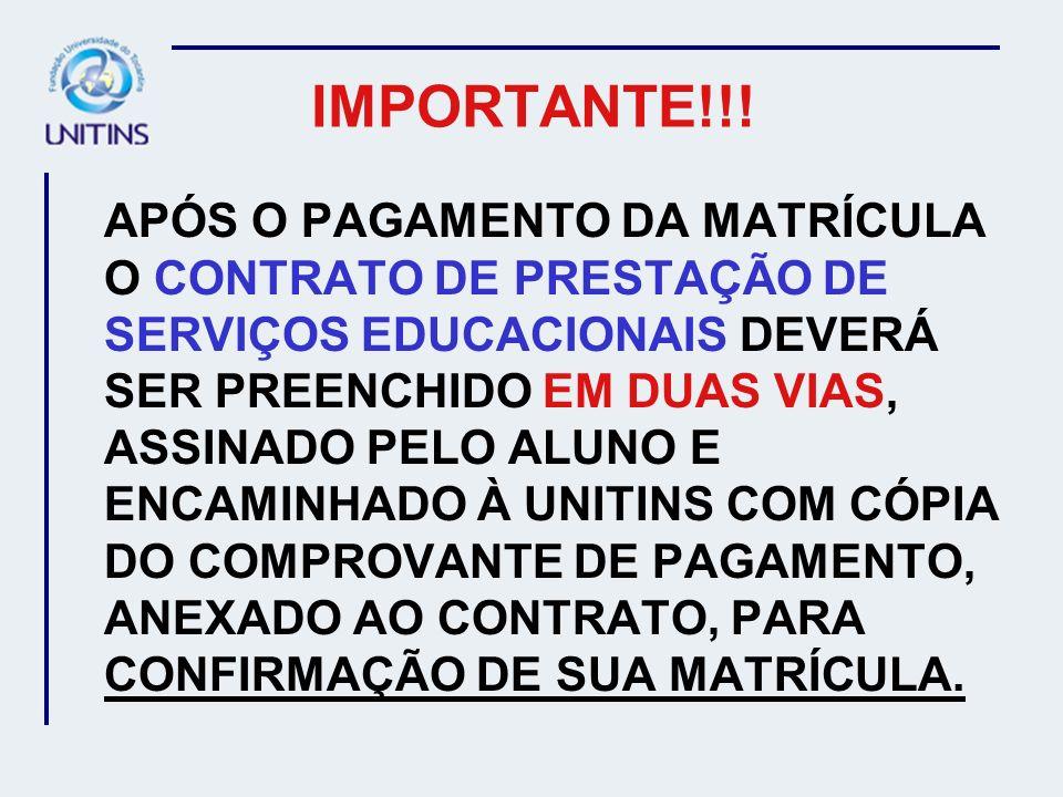 ATENÇÃO AOS PRAZOS ESTABELECIDOS EM CALENDÁRIO ACADÊMICO MATRÍCULAS 15 A 27/01/07 MUDANÇA DE TELESSALA 05 A 12/02/07 APROVEITAMENTO DE DISCIPLINAS 05 A 12/02/07