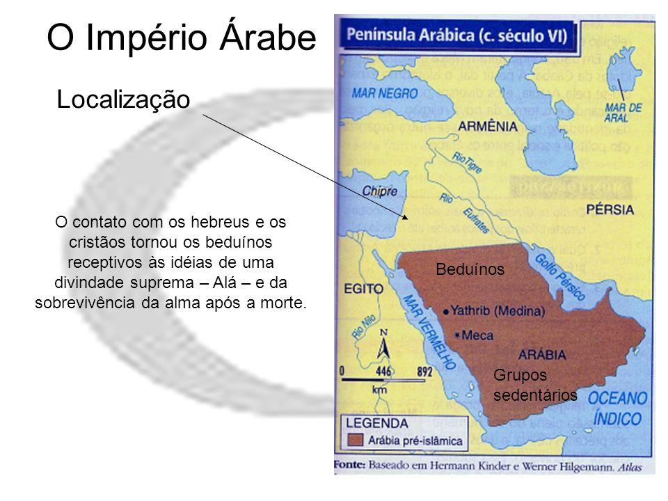 O Império Árabe Localização Beduínos Grupos sedentários O contato com os hebreus e os cristãos tornou os beduínos receptivos às idéias de uma divindad