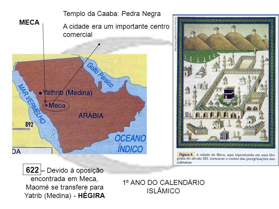 MECA Templo da Caaba: Pedra Negra A cidade era um importante centro comercial 622 – Devido à oposição encontrada em Meca, Maomé se transfere para Yatr