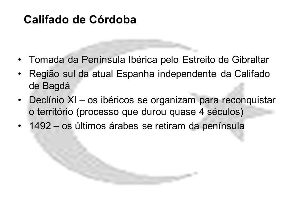 Califado de Córdoba Tomada da Península Ibérica pelo Estreito de Gibraltar Região sul da atual Espanha independente da Califado de Bagdá Declínio XI –