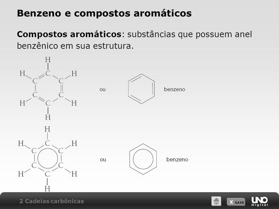 X SAIR Benzeno e compostos aromáticos Compostos aromáticos: substâncias que possuem anel benzênico em sua estrutura. 2 Cadeias carbônicas