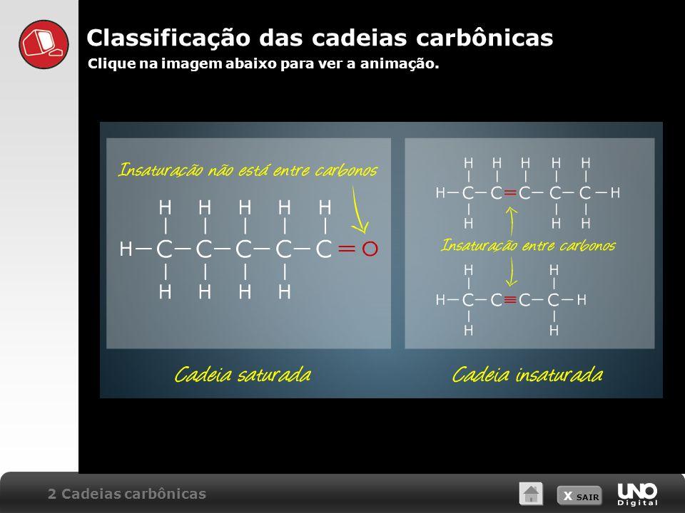 X SAIR Classificação das cadeias carbônicas Clique na imagem abaixo para ver a animação. 2 Cadeias carbônicas