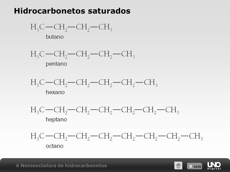X SAIR Hidrocarbonetos saturados 4 Nomenclatura de hidrocarbonetos