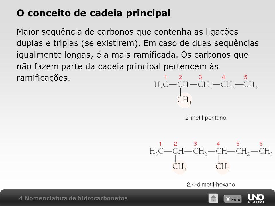 X SAIR O conceito de cadeia principal Maior sequência de carbonos que contenha as ligações duplas e triplas (se existirem). Em caso de duas sequências