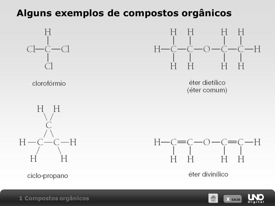 X SAIR Alguns exemplos de compostos orgânicos 1 Compostos orgânicos
