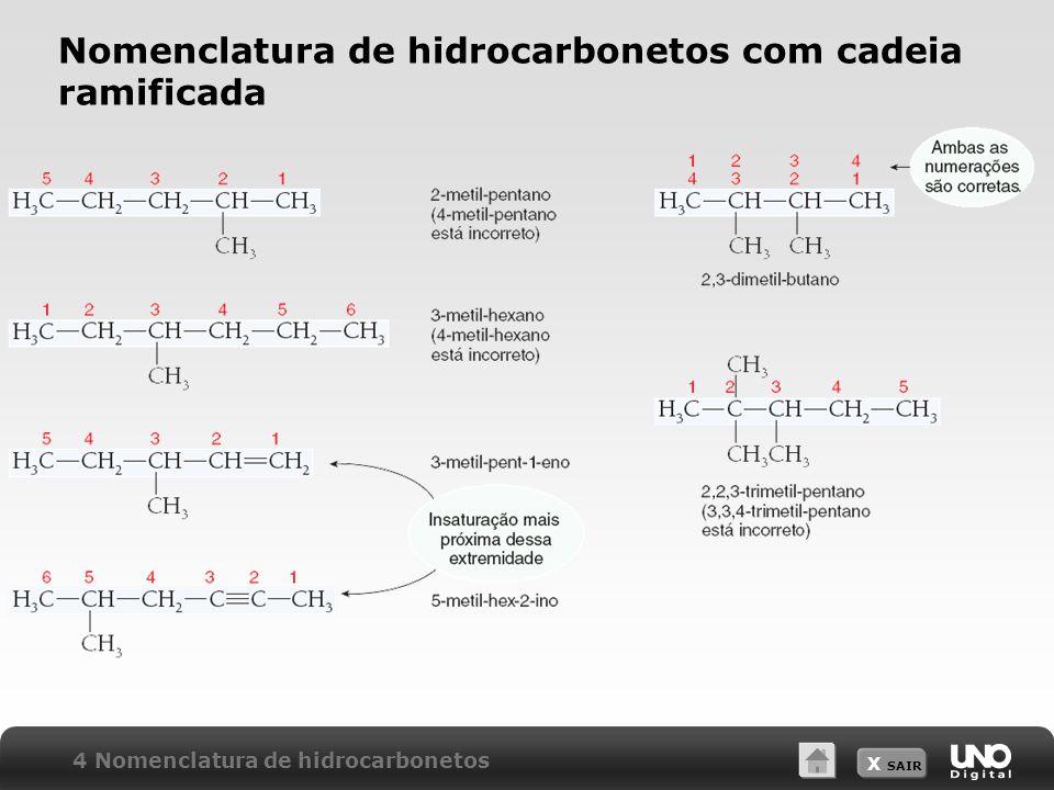 X SAIR Nomenclatura de hidrocarbonetos com cadeia ramificada 4 Nomenclatura de hidrocarbonetos.