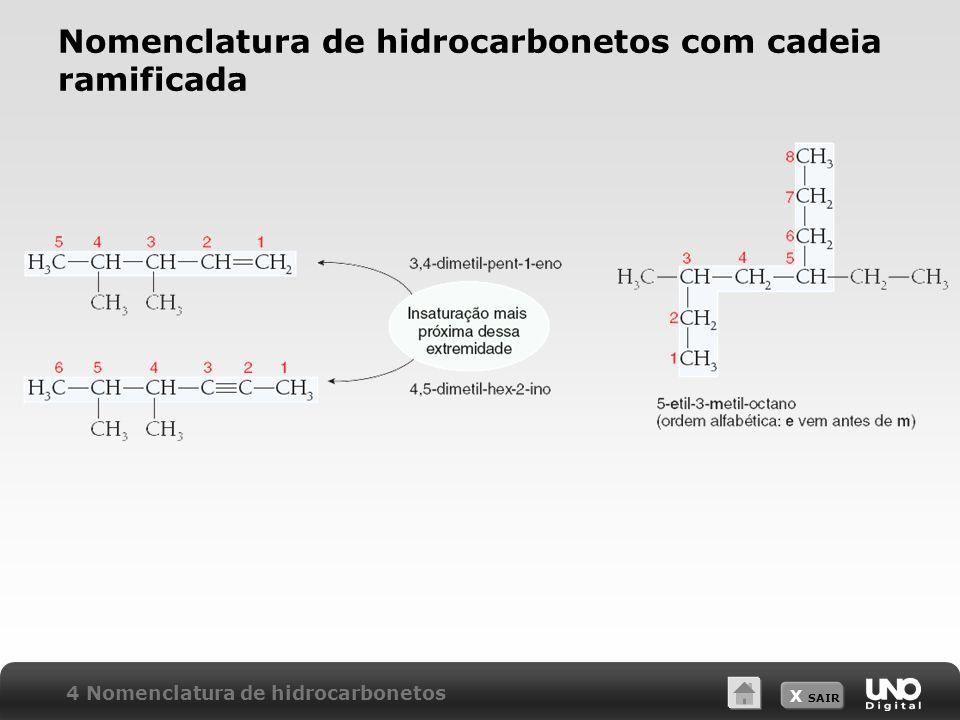 X SAIR Nomenclatura de hidrocarbonetos com cadeia ramificada 4 Nomenclatura de hidrocarbonetos