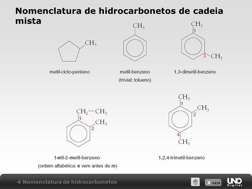 X SAIR Nomenclatura de hidrocarbonetos de cadeia mista 4 Nomenclatura de hidrocarbonetos
