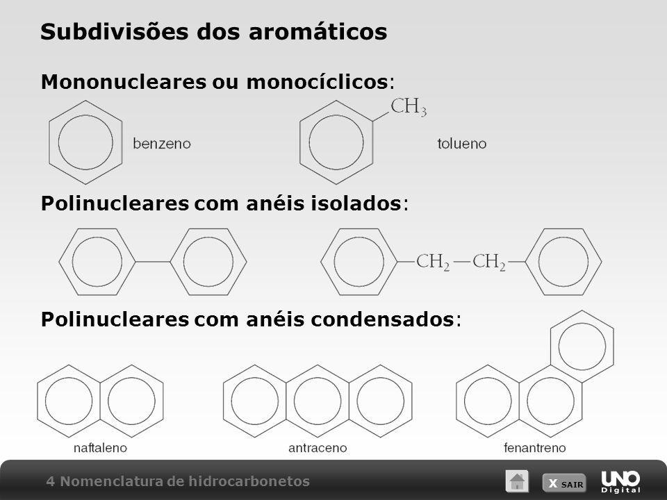 X SAIR Subdivisões dos aromáticos Mononucleares ou monocíclicos: Polinucleares com anéis isolados: Polinucleares com anéis condensados: 4 Nomenclatura