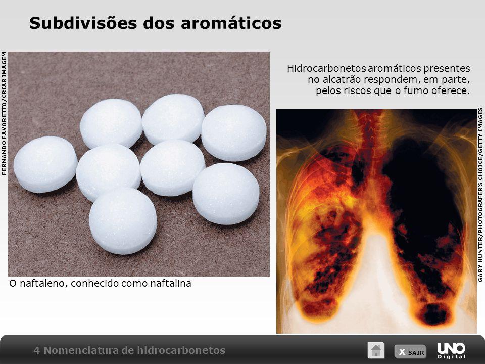 X SAIR Subdivisões dos aromáticos O naftaleno, conhecido como naftalina Hidrocarbonetos aromáticos presentes no alcatrão respondem, em parte, pelos ri
