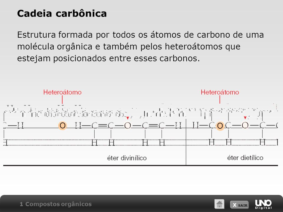 X SAIR Cadeia carbônica Estrutura formada por todos os átomos de carbono de uma molécula orgânica e também pelos heteroátomos que estejam posicionados