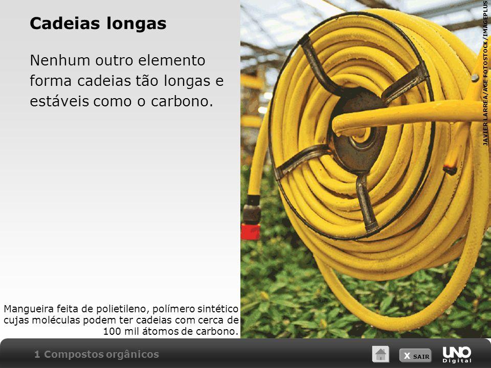 X SAIR Cadeias longas Nenhum outro elemento forma cadeias tão longas e estáveis como o carbono. Mangueira feita de polietileno, polímero sintético cuj