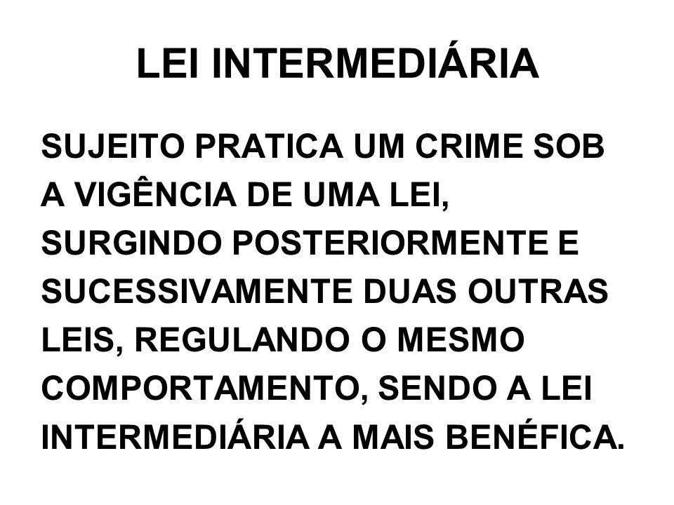 LEI INTERMEDIÁRIA SUJEITO PRATICA UM CRIME SOB A VIGÊNCIA DE UMA LEI, SURGINDO POSTERIORMENTE E SUCESSIVAMENTE DUAS OUTRAS LEIS, REGULANDO O MESMO COM