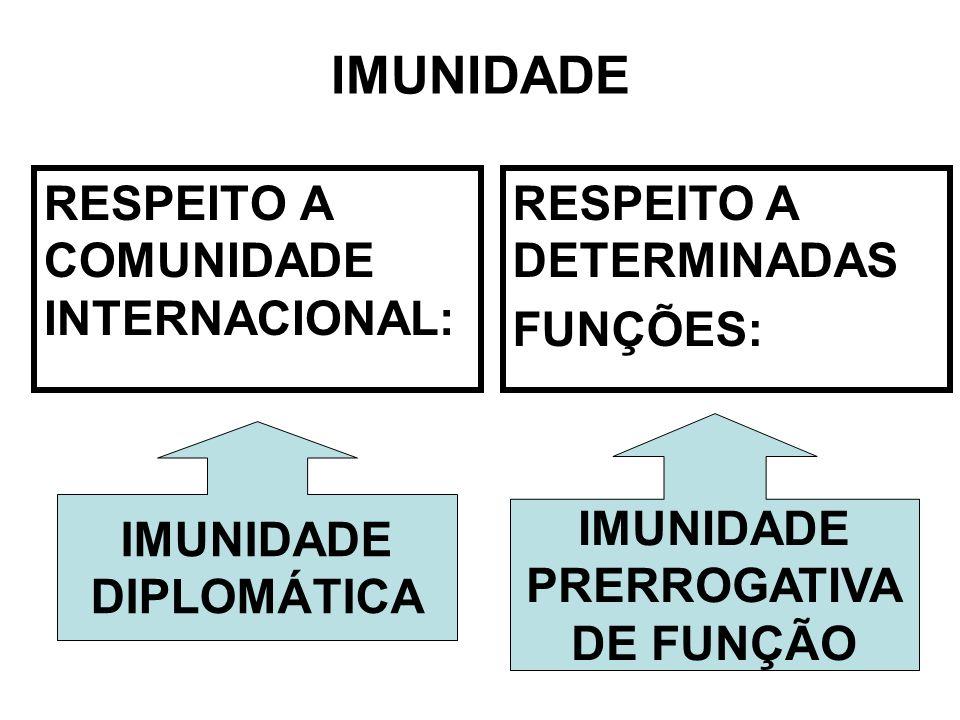 RESPEITO A COMUNIDADE INTERNACIONAL: IMUNIDADE DIPLOMÁTICA RESPEITO A DETERMINADAS FUNÇÕES: IMUNIDADE PRERROGATIVA DE FUNÇÃO