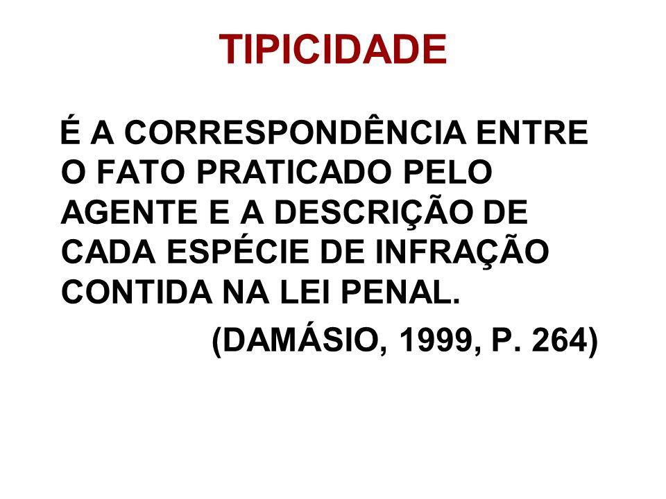 TIPICIDADE É A CORRESPONDÊNCIA ENTRE O FATO PRATICADO PELO AGENTE E A DESCRIÇÃO DE CADA ESPÉCIE DE INFRAÇÃO CONTIDA NA LEI PENAL. (DAMÁSIO, 1999, P. 2