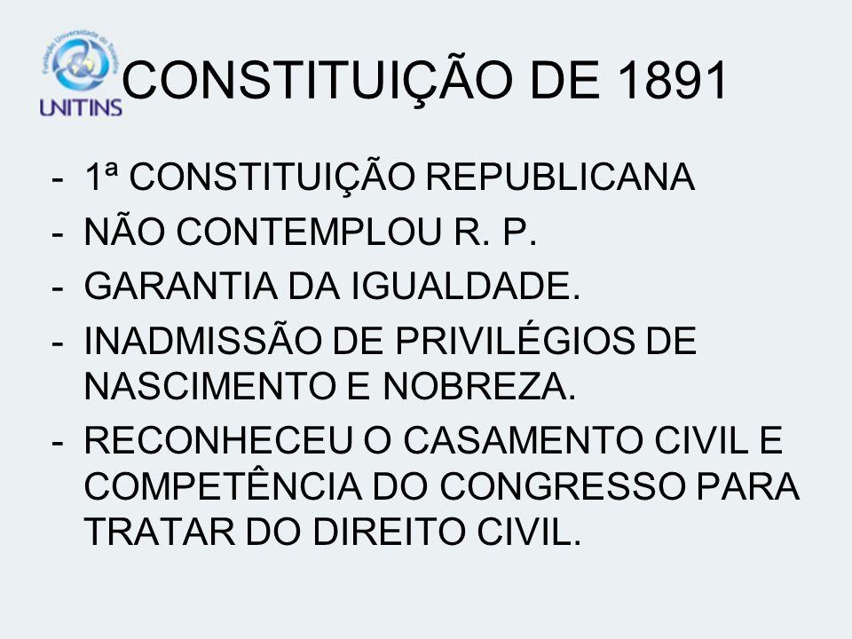 CONSTITUIÇÃO DE 1891 -1ª CONSTITUIÇÃO REPUBLICANA -NÃO CONTEMPLOU R. P. -GARANTIA DA IGUALDADE. -INADMISSÃO DE PRIVILÉGIOS DE NASCIMENTO E NOBREZA. -R